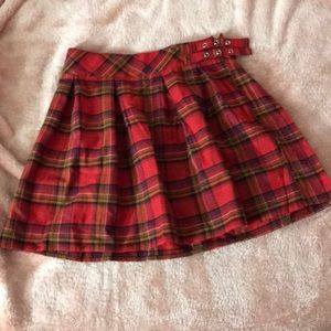 Missguided red plaid print pleated skirt